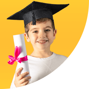 Boy with master's degree